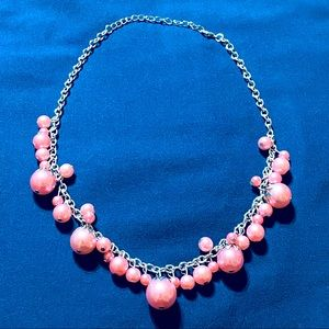Salmon Colored Necklace Silver Hardware